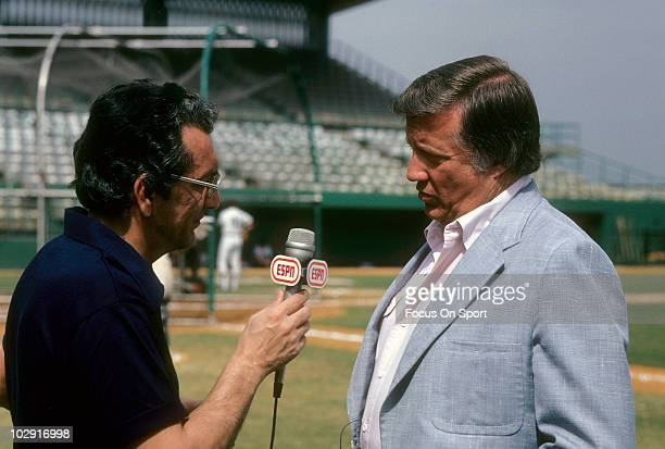 Owner of the New York Yankees George Stienbrenner in this portrait being interviewed by ESPN circa 1981 before the start of a Major League Baseball...