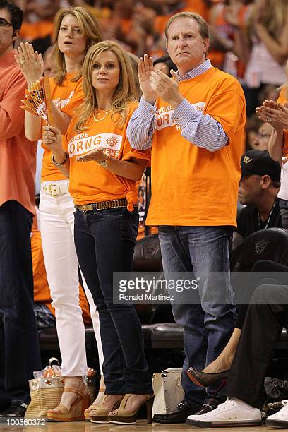 Owner of the Phoenix Suns Robert Sarver watches game action with his wife Penny as they play the Los Angeles Lakers in the fourth quarter of Game...