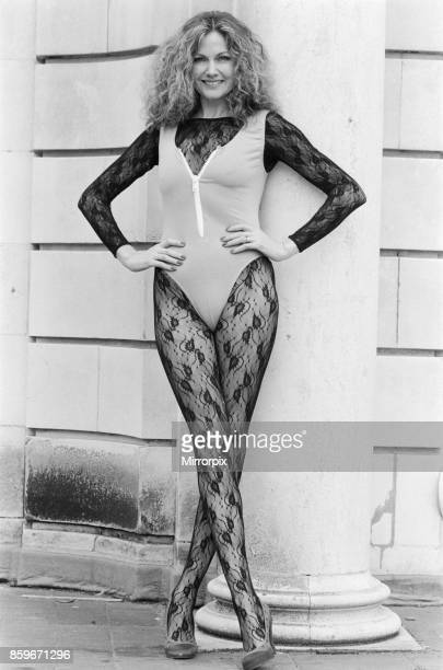 Owner of the Pineapple Dance Studios Debbie Moore modelling one of her own leotard designs which will ne manufactured by Charnos 13th February 1985