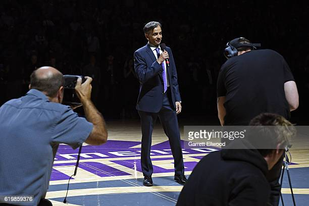 Owner of the Sacramento Kings Vivek Ranadive speaks to the fans before the game against the San Antonio Spurs on October 27 2016 at the Golden 1...