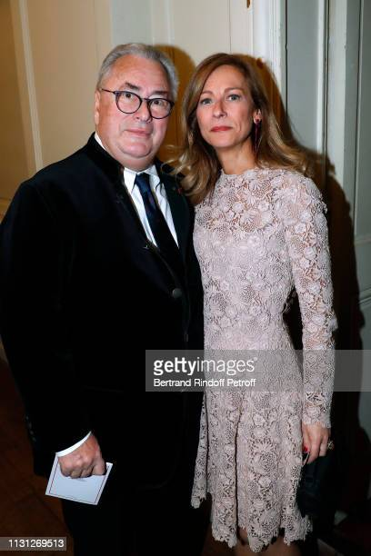 Owner of the Salle Gaveau JeanMarie Fournier and Anne Gravoin attend the Fondation Prince Albert II De Monaco Evening at Salle Gaveau on February 21...