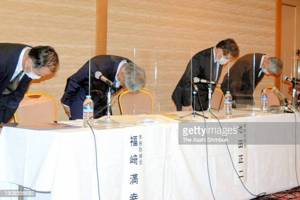 Owner of the tanker Ever Given which has been blocking the Suez Canal, Shoei Kisen President Yukito Higaki and executives bow for apology during a...