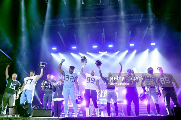 Owner of the Tennessee Titans Amy Adams Strunk and a few of the Tennessee Titan players reveal their new jerseys during team up for the Tradition...