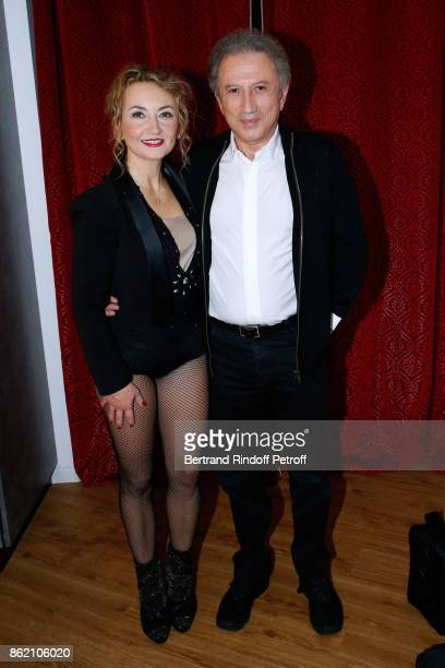 Owner of the Theatre Christelle Chollet and Michel Drucker attend the One Woman Show by Christelle Chollet for the Inauguration of the Theatre de la...