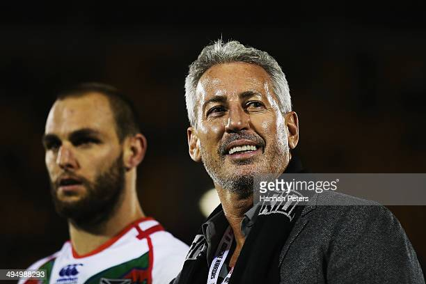 Owner of the Warriors Eric Watson looks on following the round 12 NRL match between the New Zealand Warriors and the Newcastle Knights at Mt Smart...