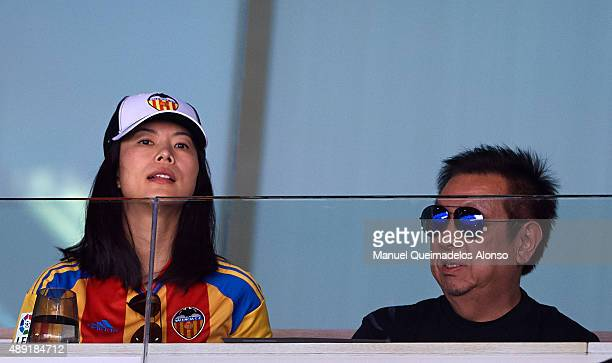 Owner of Valencia CF Peter Lim and his wife Cherie Lim attend the La Liga match between Valencia CF and Real Betis Balompie at Estadi de Mestalla on...