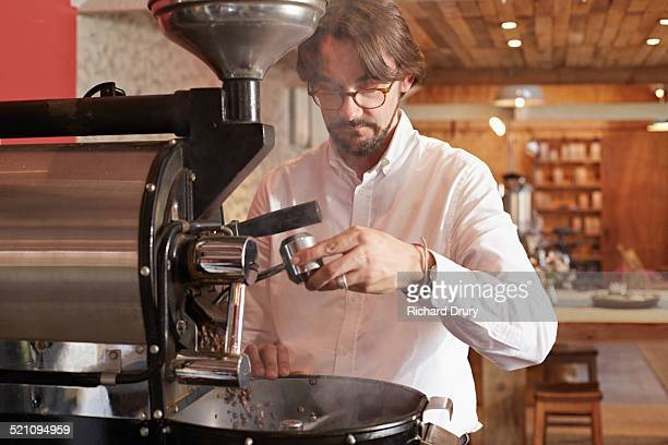 Owner operating in coffee roaster