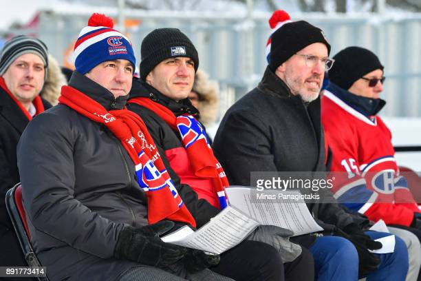 Owner President and CEO of the Montreal Canadiens Geoff Molson looks on during the official inauguration of the Bleu Blanc Bouge rink by the Montreal...
