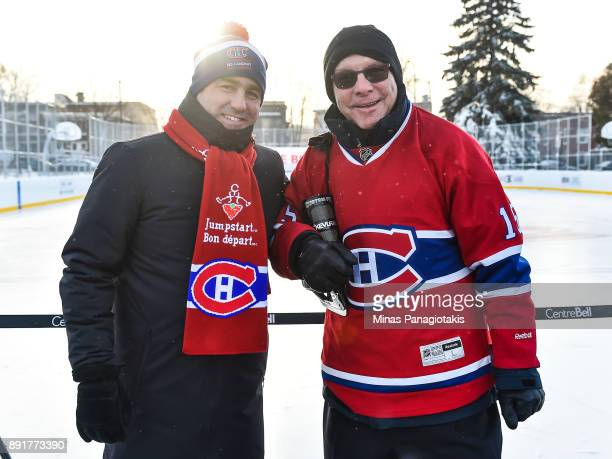 Owner President and CEO of the Montreal Canadiens Geoff Molson poses with president of the Montreal Canadiens Alumni association Rejean Houle during...