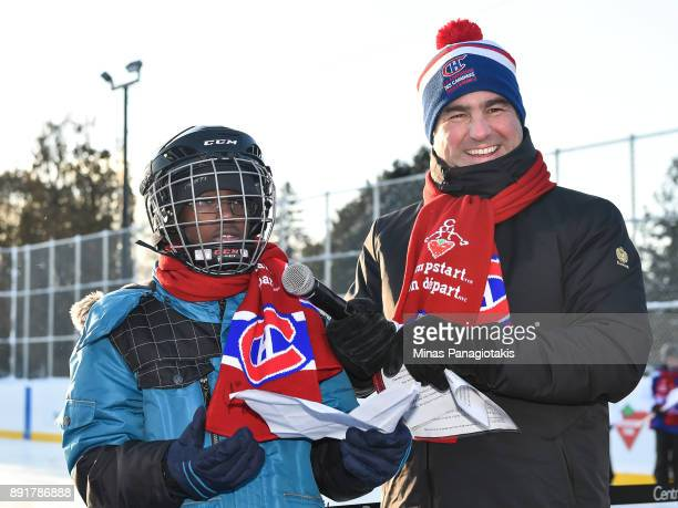 Owner President and CEO of the Montreal Canadiens Geoff Molson smiles as Mahamat Ibrahim delivers his speech to the guests during the official...