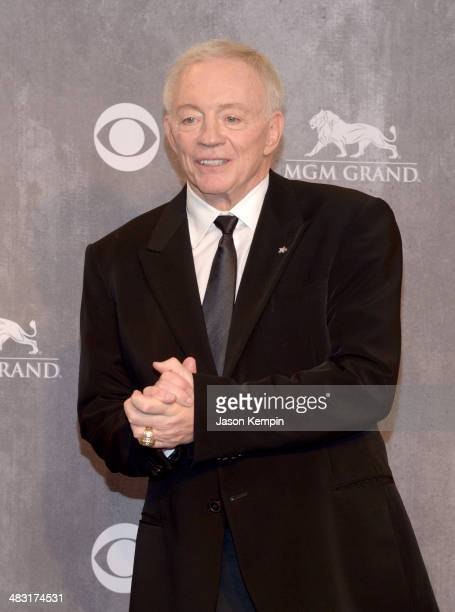 Owner President and General Manager of the Dallas Cowboys Jerry Jones poses in the press room during the 49th Annual Academy Of Country Music Awards...