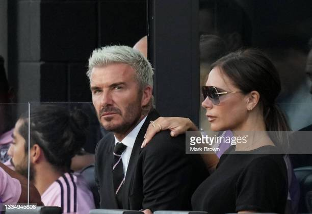 Owner & President of Soccer Operations David Beckham of Inter Miami CF and his wife Victoria Beckham watch the match against Chicago Fire FC during...