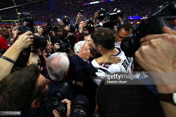 Owner Robert Kraft and Tom Brady of the New England Patriots celebrate their teams 133 win over the Los Angeles Rams during Super Bowl LIII at...