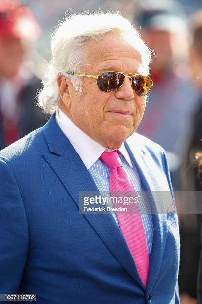 Owner Robert Kraft of the New England Patriots walks the sideline prior to a game against the Tennessee Titans at Nissan Stadium on November 11, 2018...