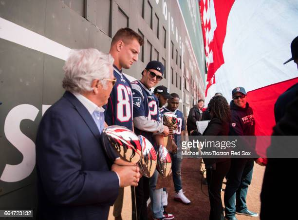 Owner Robert Kraft Rob Gronkowski Tom Brady James White and Dion Lewis of and the New England Patriots wait to be introduced during a ceremony in...
