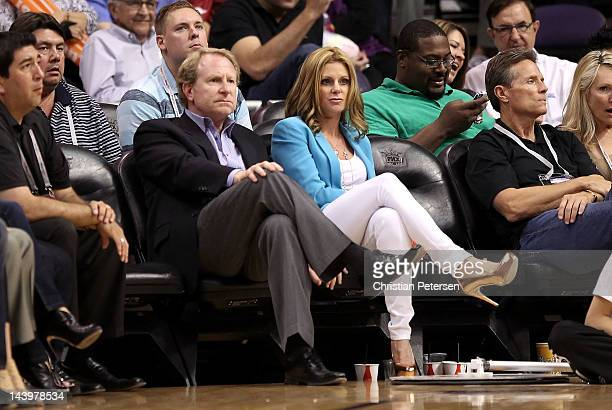 Owner Robert Sarver of the Phoenix Suns and wife Penny watch the NBA game against the San Antonio Spurs at US Airways Center on April 25 2012 in...