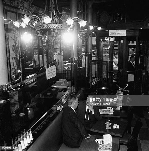 Owner Roger Cazes in his famous Brasserie Lipp in the SaintGermaindesPrés neighbourhood in October 1963 in Paris France