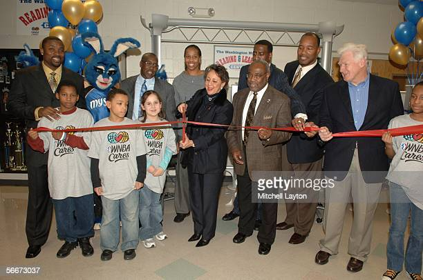 Owner Sheila Johnson and Chasity Melvin of the Washington Mystics help unveil the Court of Dreams basketball court January 25 2006 at the Mount...