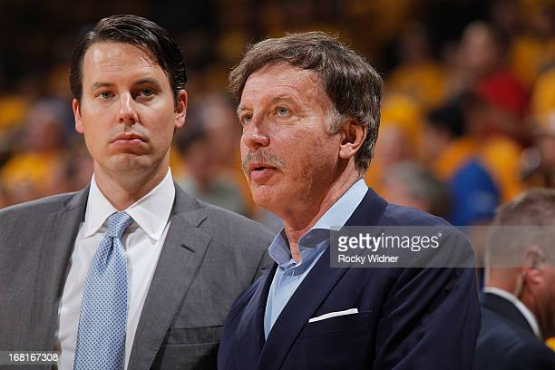 Owner Stan Kroenke and President Josh Kroenke of the Denver Nuggets watches their team face off against the Golden State Warriors in Game Six of the...