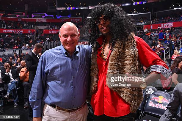 Owner Steve Ballmer poses for a photo with Paul Pierce of the LA Clippers in his halloween costume during the game against the Phoenix Suns on...