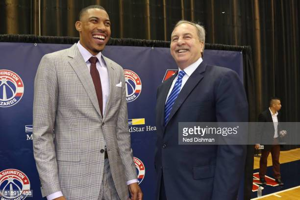 Owner Ted Leonsis General Manager Ernie Grunfeld and Head Coach Scott Brooks hold a press conference to announce the resigning of Otto Porter of the...