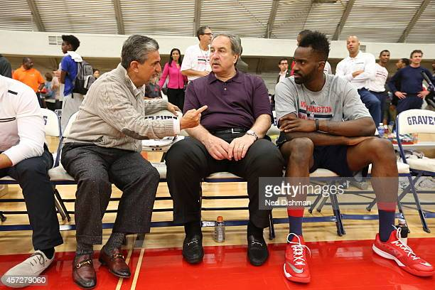Owner Ted Leonsis team president Ernie Grunfeld and Martell Webster of the Washington Wizards speak during an open practice at Fort Belvior on...