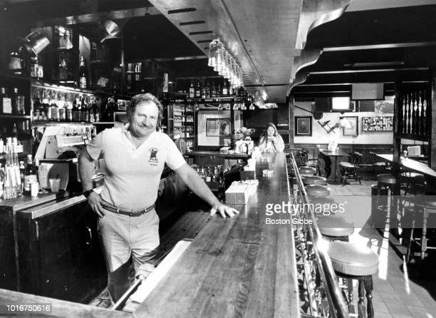 Owner Thomas Kershaw stands behind the bar at the Bull and Finch Pub in Boston on Sep 27 1982