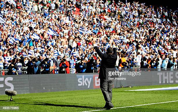 QPR owner Tony Fernandes celebrates after his team won the Sky Bet Championship Playoff Final match between Derby County and Queens Park Rangers at...