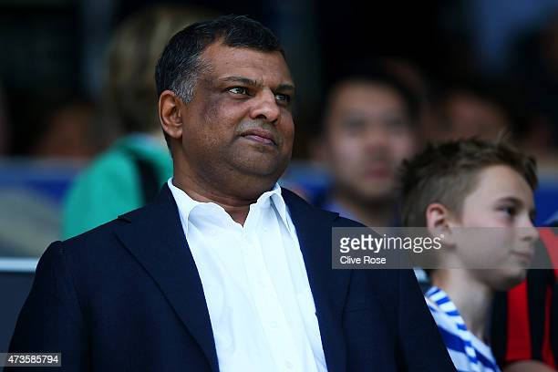 QPR owner Tony Fernandes looks on during the Barclays Premier League match between Queens Park Rangers and Newcastle United at Loftus Road on May 16...