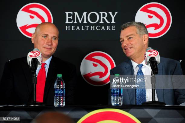 Owner Tony Ressler of the Atlanta Hawks introduces new General Manager Travis Schlenk during a Press Conference on June 2 2017 at Philips Arena in...