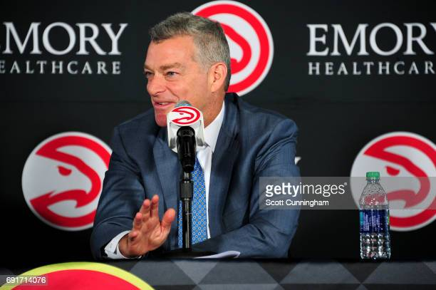 Owner Tony Ressler of the Atlanta Hawks talks to the media during a Press Conference on June 2 2017 at Philips Arena in Atlanta Georgia NOTE TO USER...
