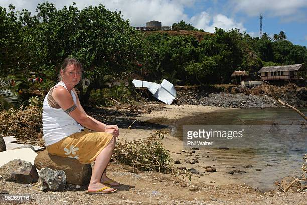 Owner Wendy Booth looks on at the devastation of her destroyed Seabreeze resort following the 8.3 magnitude strong earthquake which struck 200km from...