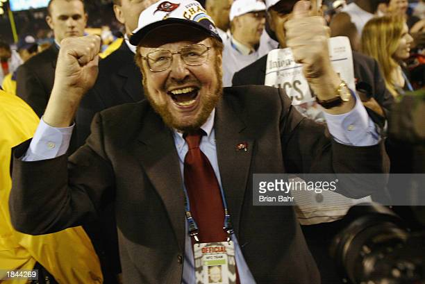 Owner/President Malcolm Glazer of the Tampa Bay Buccaneers celebrates the victory over the Oakland Raiders in Super Bowl XXXVII on January 26 2003 at...