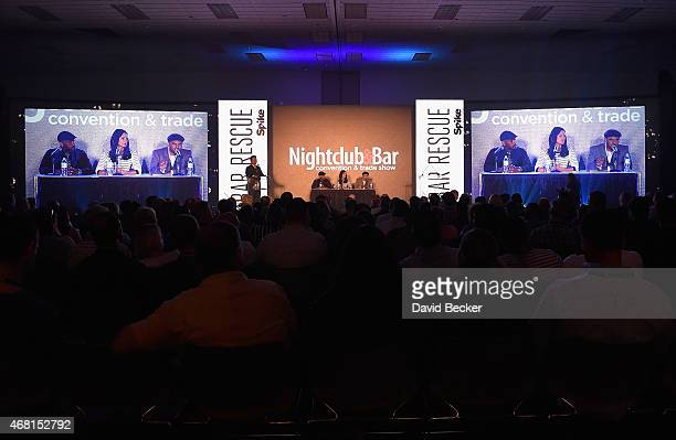 Owner/President of Greco Holdings Thom Greco TV personalities Phil Wills Mia Mastroianni and Nick Liberato speak onstage during the 30th annual...