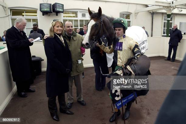 Owners Andrea and Graham Wylie and jockey Graham Lee with No Refuge after winning the Betfaircom Novices' Hurdle