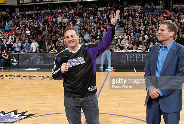 Owners Gavin Maloof and Joe Maloof of the Sacramento Kings address the fans during a game between the Utah Jazz and the Sacramento Kings on February...