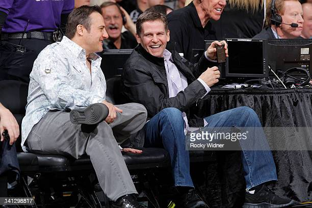 Owners Gavin Maloof and Joe Maloof of the Sacramento Kings enjoying a game between the Dallas Mavericks and the Sacramento Kings on March 09 2012 at...