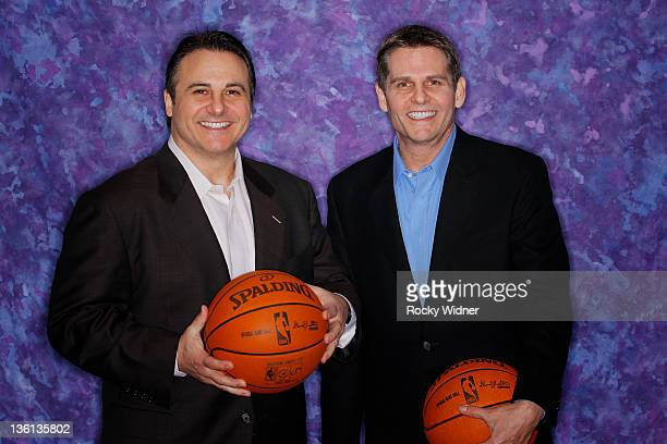 Owners Gavin Maloof and Joe Maloof of the Sacramento Kings pose for a photo on media day December 15, 2011 at Power Balance Pavilion in Sacramento,...