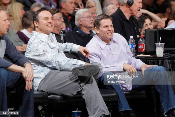Owners Gavin Maloof and Joe Maloof of the Sacramento Kings watching their team face off against the Dallas Mavericks on March 09 2012 at Power...