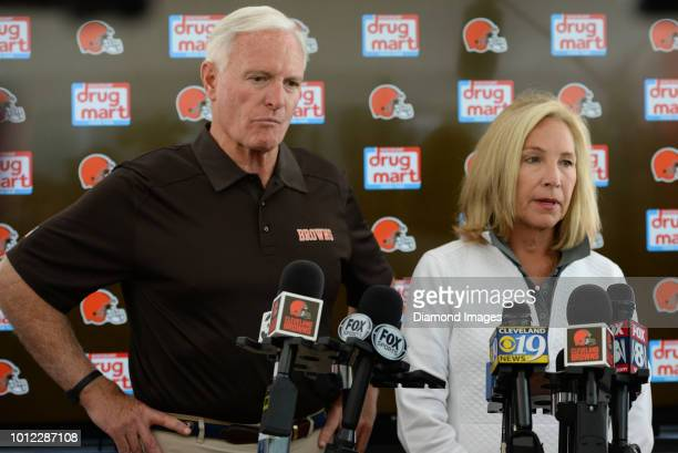 Owners Jimmy and Dee Haslam of the Cleveland Browns answers questions from the media prior to a training camp practice on July 28 2018 at the...