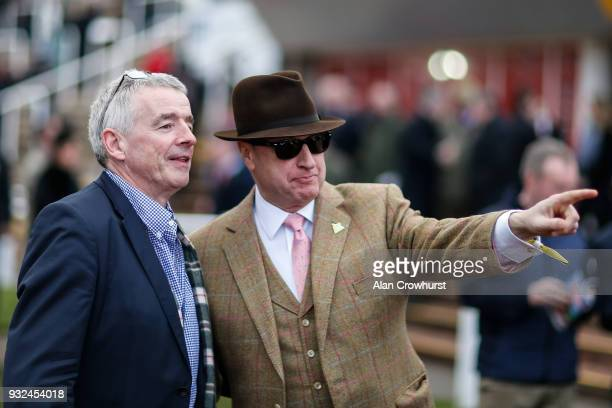 Owners Michael O'Leary with Rich Ricci at Cheltenham racecourse on St Patrick's Thursday on March 15 2018 in Cheltenham England