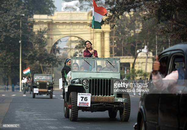 Owners of a 1943 made Willis jeep drive during a vintage car rally in Kolkata on January 19 2014 This year 175 vintage and classic vehicles are...