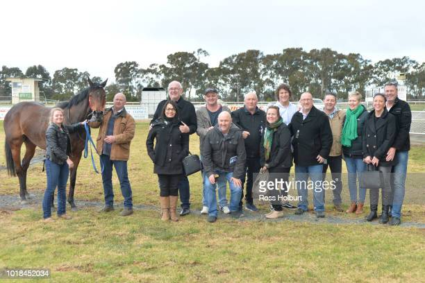 Owners of All About Alice after winning the Rushton Park FM Maiden Plate at Tatura Racecourse on August 18 2018 in Tatura Australia