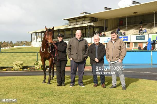 Owners of Bit of a Lad after winning the Greg Bull Painting 1JW Hurdle at Warrnambool Racecourse on July 08 2018 in Warrnambool Australia