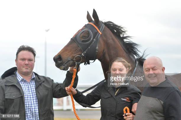 Owners of Bonnard after winning the Thrifty BM58 Handicap at Racingcom Park Synthetic Racecourse on July 09 2017 in Pakenham Australia