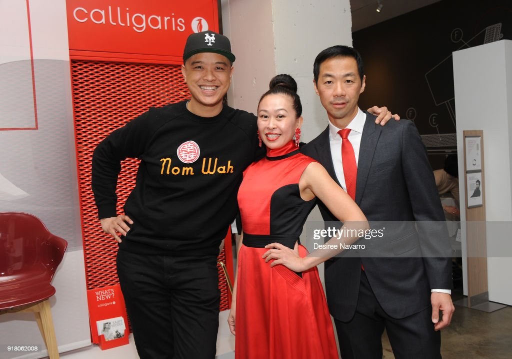 Owners of Calligaris, Niki Cheng and Shaokao Cheng pose with Wilson Tang (L) during the 2018 Red & Gold Party at Calligaris SoHo on February 13, 2018 in New York City.