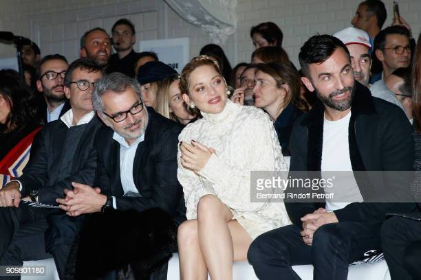 Owners of Gaultier Manuel Puig his brother Marc Puig Marion Cotillard and Nicolas Ghesquiere attend the JeanPaul Gaultier Haute Couture Spring Summer...