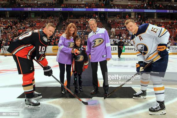 Owners of the Anaheim Ducks Henry and Susan Samueli join Corey Perry of the Anaheim Ducks and Jack Eichel of the Buffalo Sabres in honoring the...