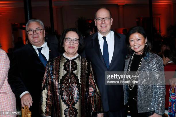 Owners of the Salle Gaveau JeanMarie Fournier with his wife Chantal Fournier Prince Albert II De Monaco and Mayor of 8th District of Paris Jeanne...