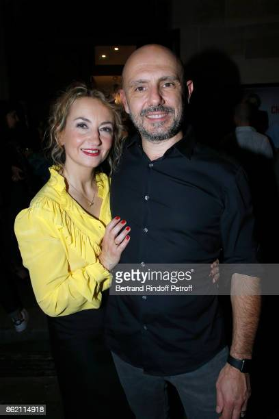 Owners of the Theatre de la Tour Eiffel Christelle Chollet and her husband Remy Caccia attend the One Woman Show by Christelle Chollet for the...